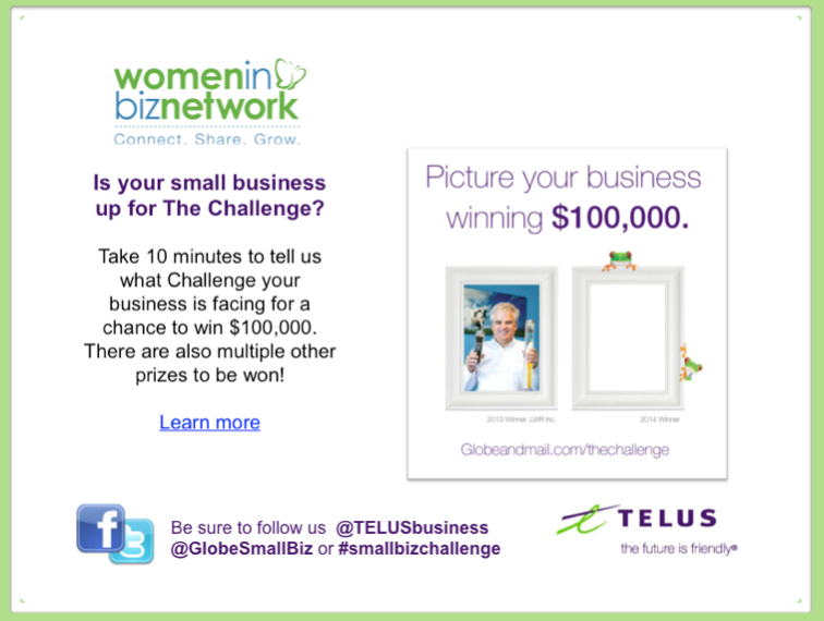 Telus and Globe and Mail 2014 Small Business Contest - win 100K