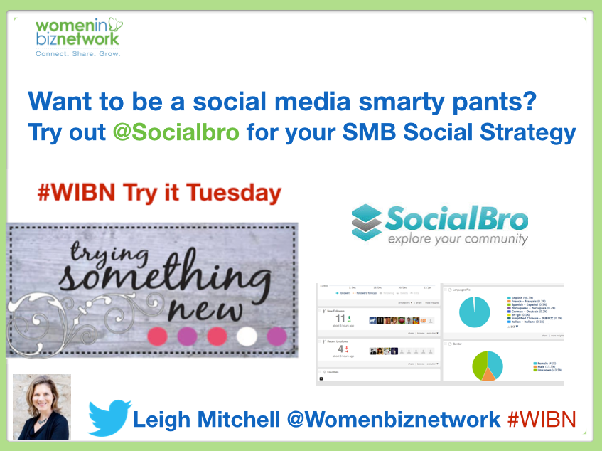 Need Social Media Smarts? #WIBN Try It Tuesday: Features @socialbro as one of my five top social media tools
