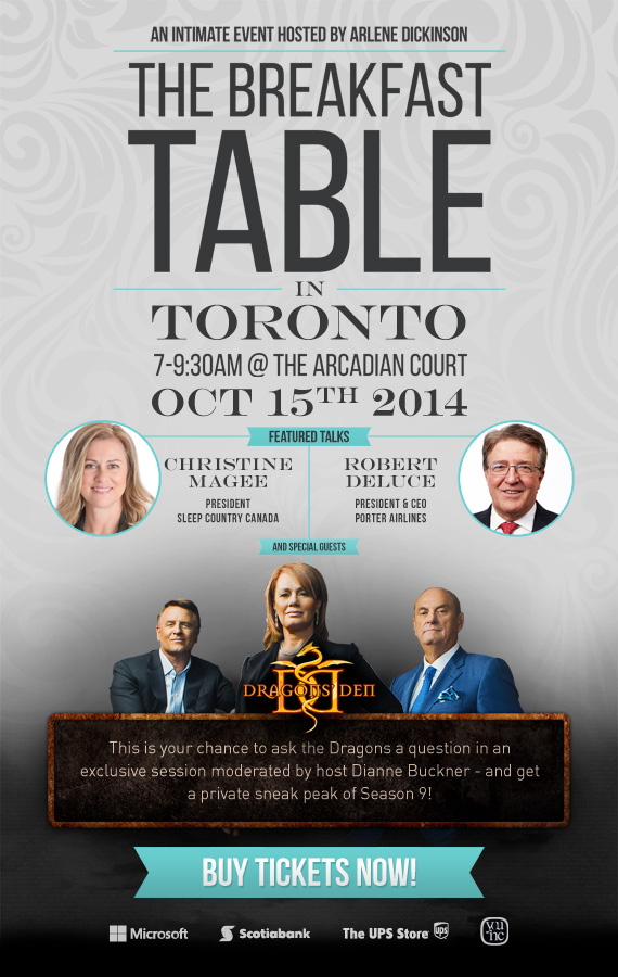 #WIBN Members Save at The Breakfast Table with @ArleneDickinson Event on October 15th, 2014 via @YouInc