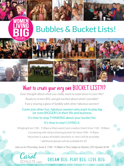 Bubbles and Bucket Lists with @WomenlivingBig Event   June 2   #WIBNmembers save