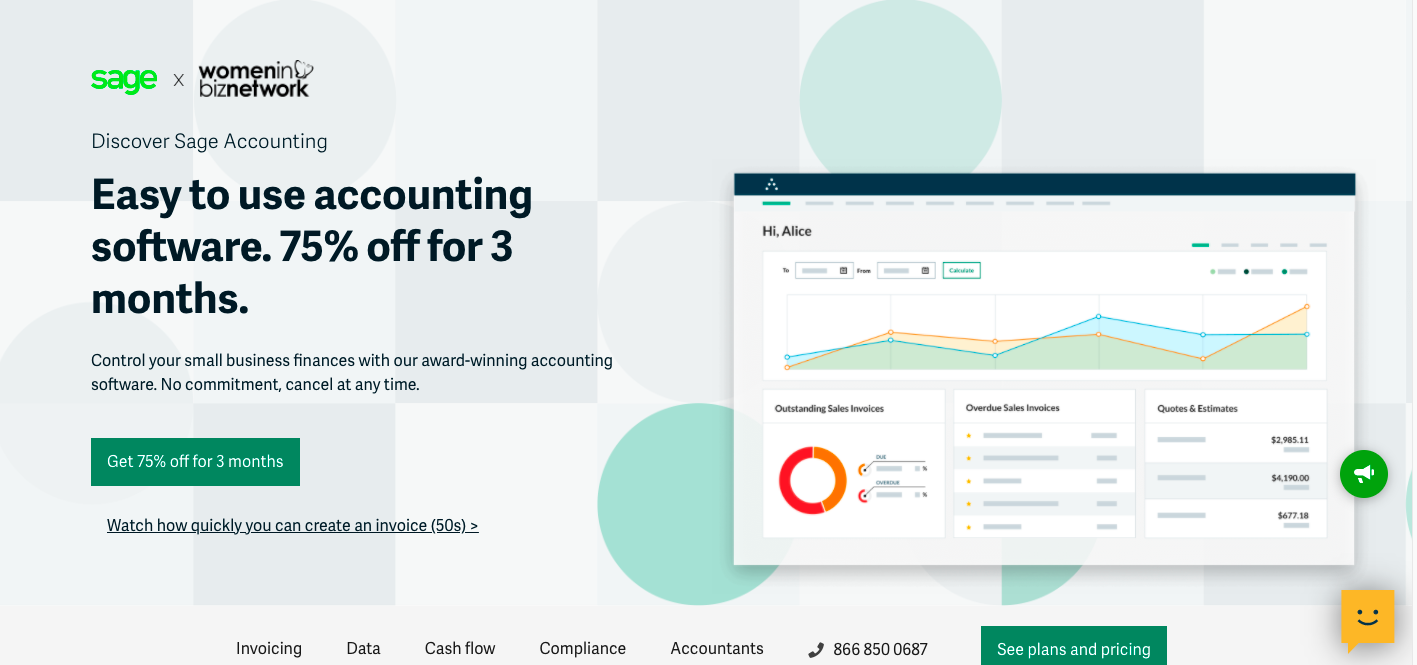 Easy to use sage accounting software save up to 75% with Women in Biz Network